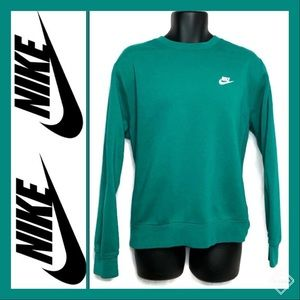 Men's Nike Club Fleece Crew Green Sz M EUC